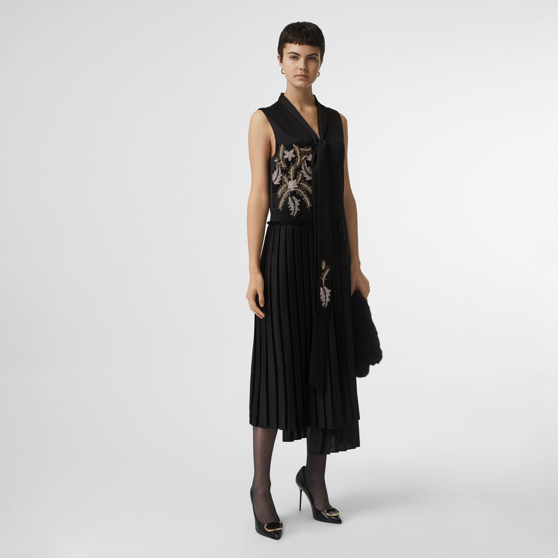 Bead-embellished Silk Satin Asymmetric Dress in Black - Women | Burberry United Kingdom - gallery image 0