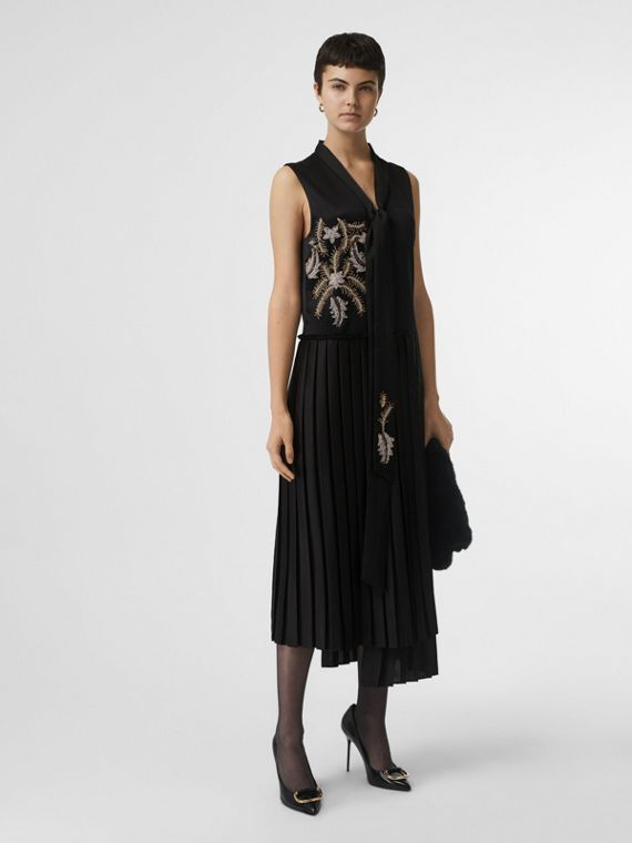 Bead-embellished Silk Satin Asymmetric Dress in Black