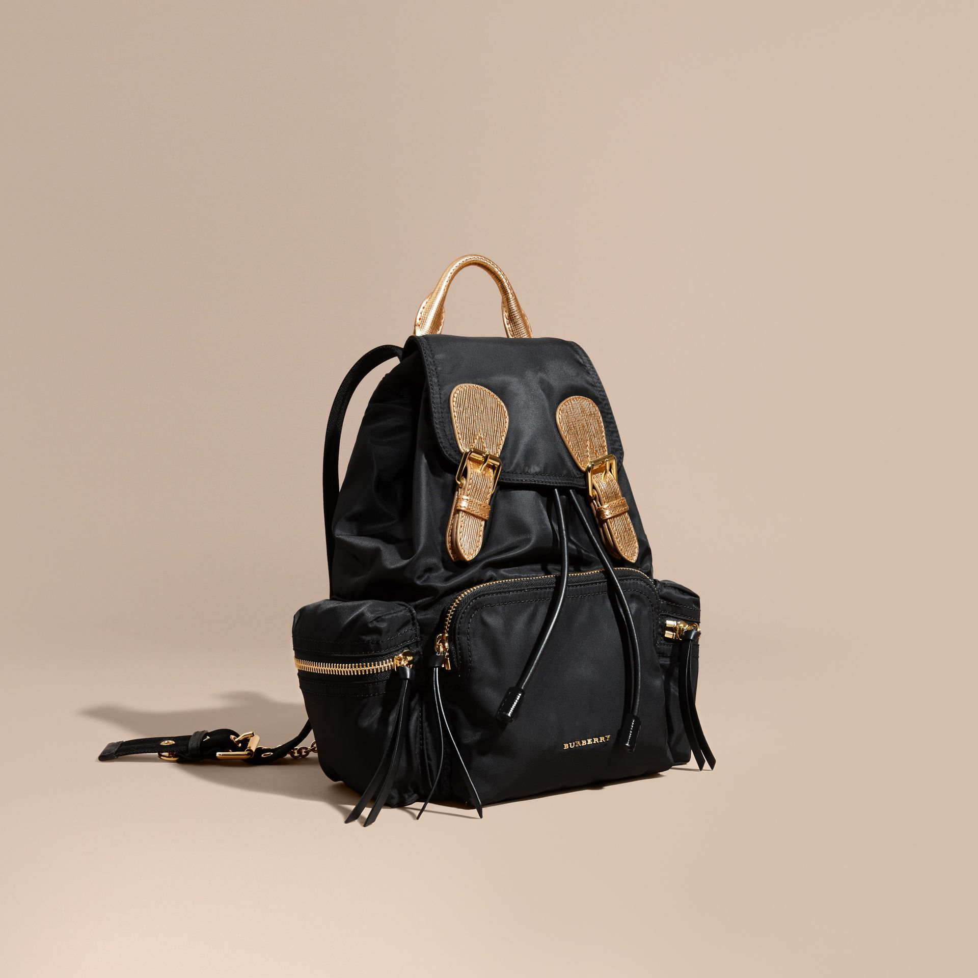 The Medium Rucksack in Two-tone Nylon and Leather Black/gold - gallery image 1