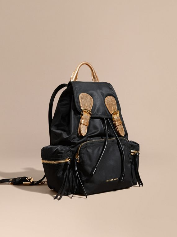 Zaino The Rucksack medio in nylon bicolore e pelle Nero/oro