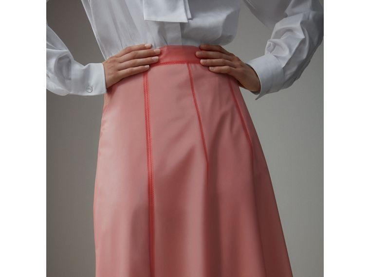 Silk-lined Plastic A-line Skirt in Rose Pink - Women | Burberry Singapore - cell image 1