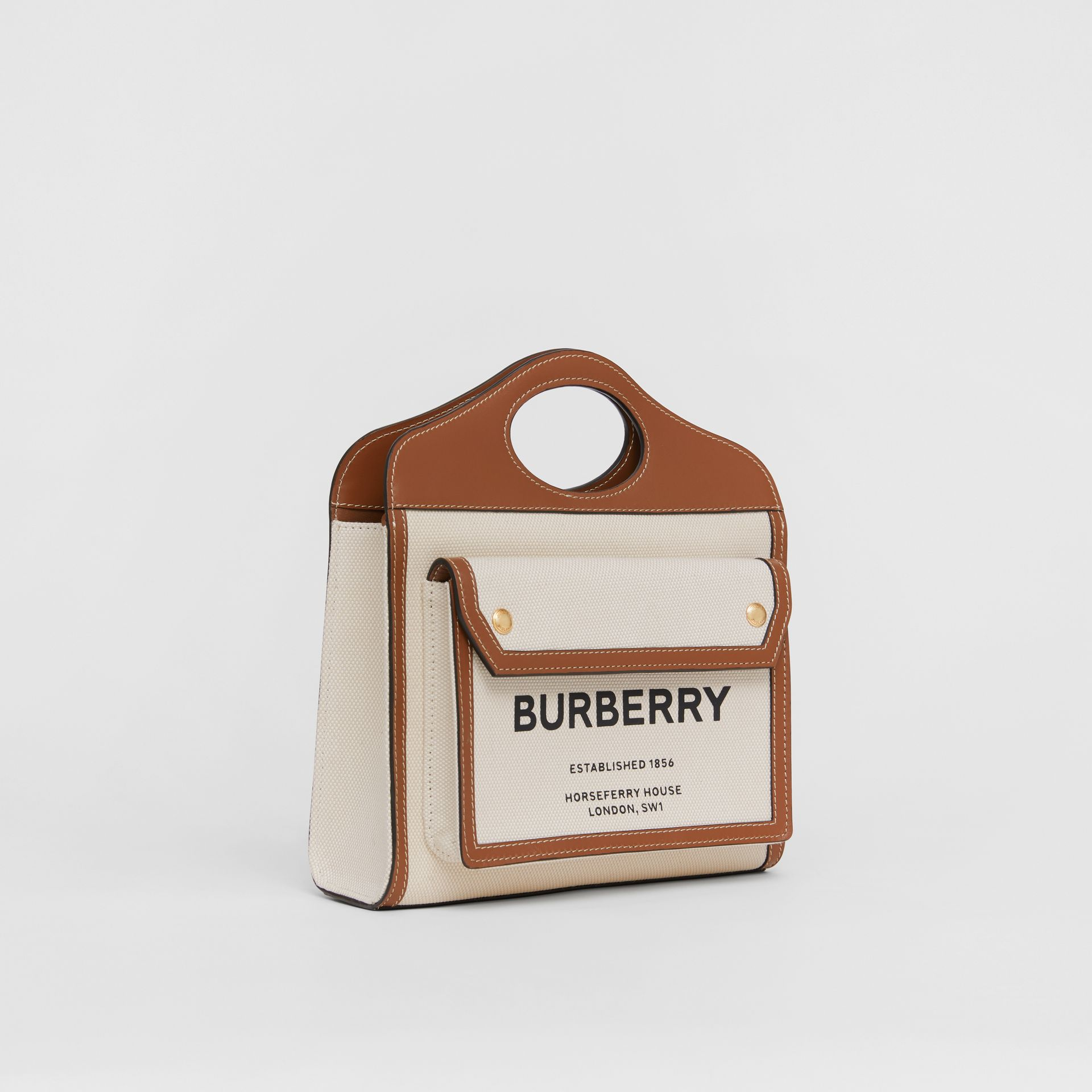 Borsa Pocket mini bicolore in tela e pelle (Naturale/marrone Malto) - Donna | Burberry - immagine della galleria 6