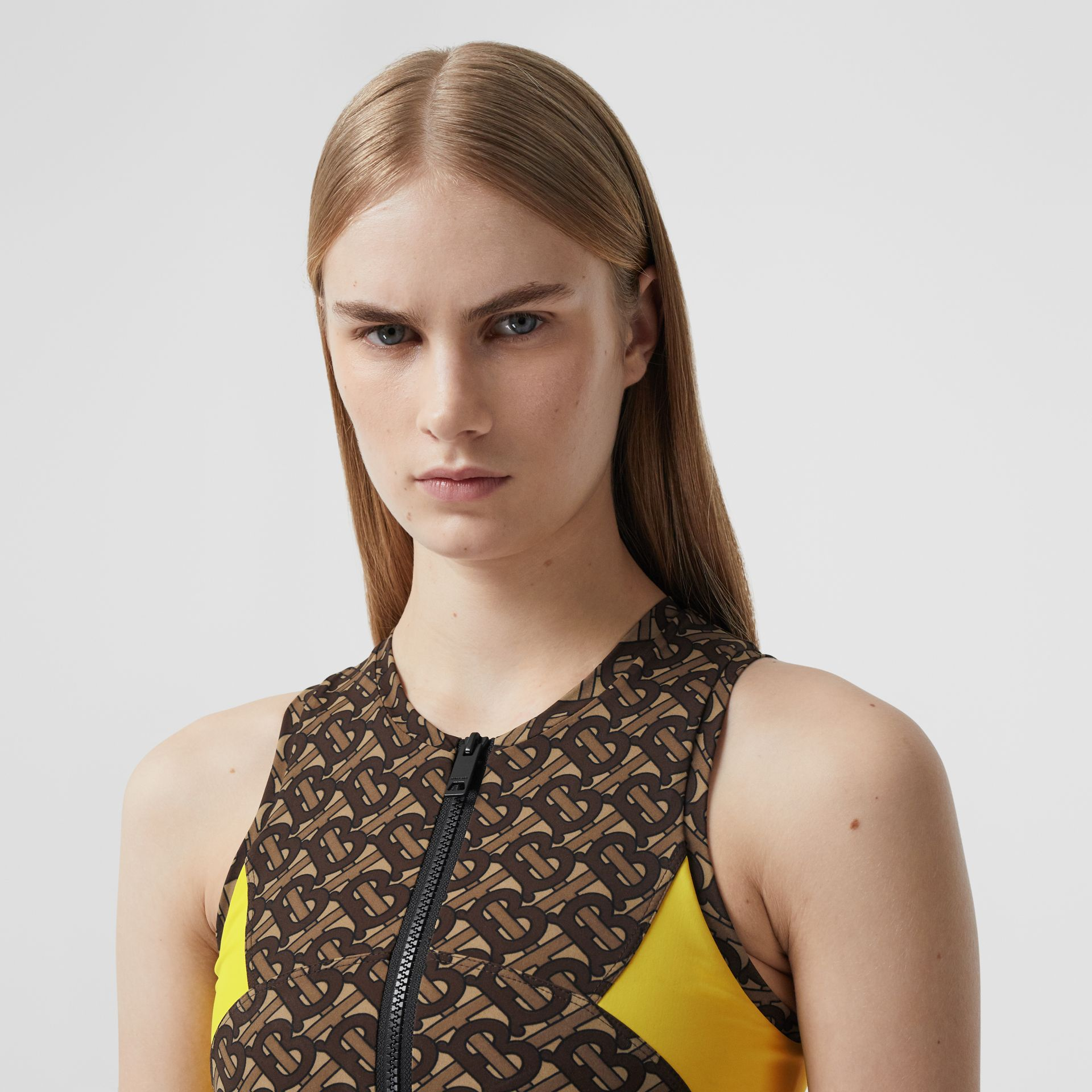 Colour Block Monogram Print Cropped Top in Bridle Brown - Women | Burberry United Kingdom - gallery image 1