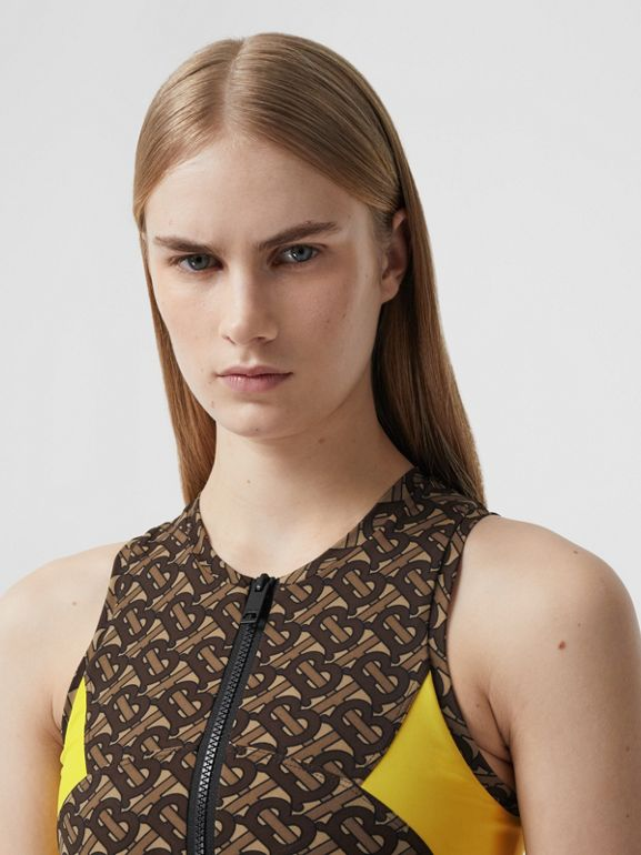 Colour Block Monogram Print Cropped Top in Bridle Brown - Women | Burberry - cell image 1