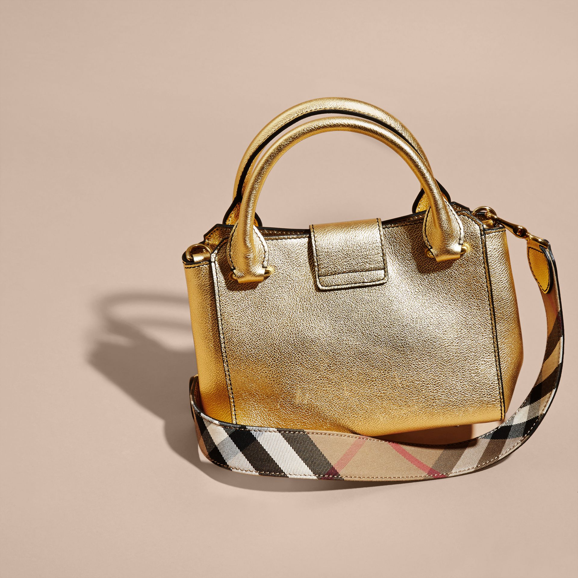 Gold The Small Buckle Tote in Metallic Leather - gallery image 5