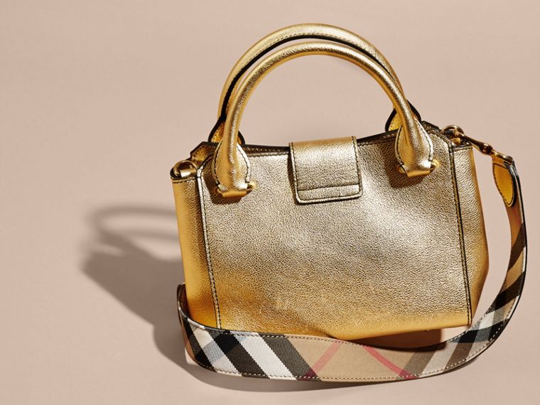 Gold The Small Buckle Tote in Metallic Leather Gold - cell image 4