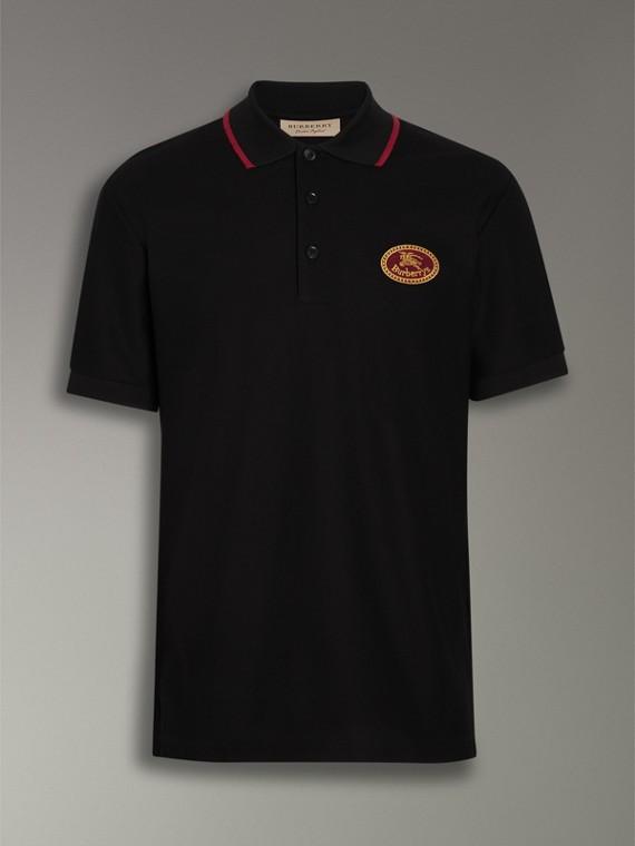 Camisa polo de algodão piquê com logo do acervo (Preto) - Homens | Burberry - cell image 3