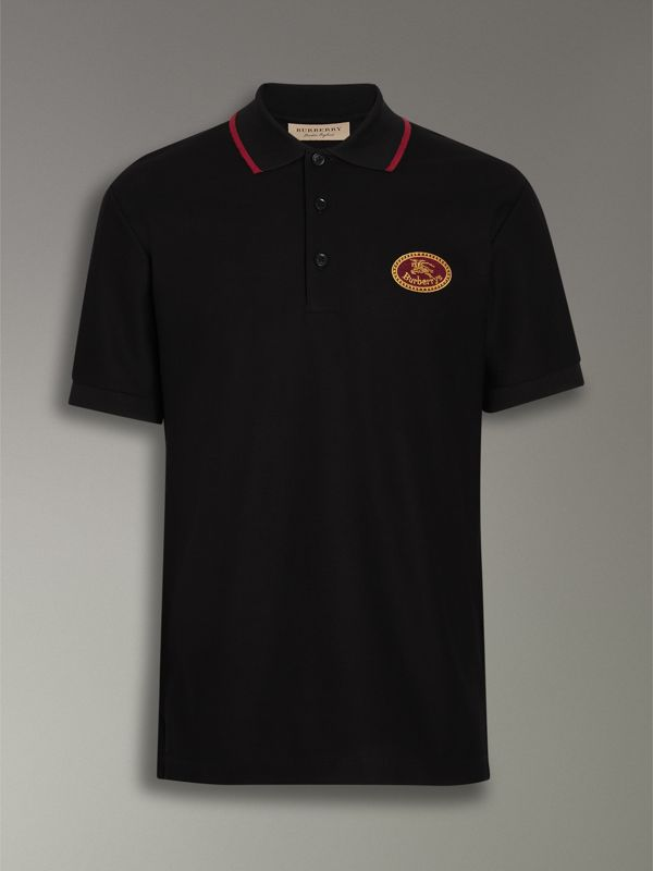 Archive Logo Cotton Piqué Polo Shirt in Black - Men | Burberry Singapore - cell image 3