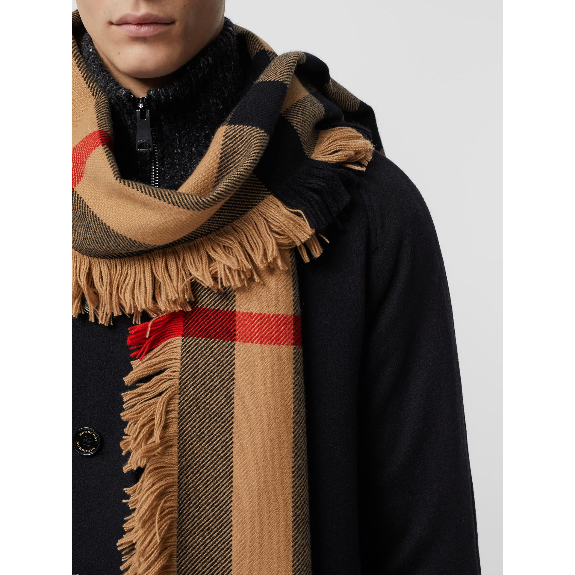 Fringed Check Wool Scarf in Camel | Burberry - gallery image 6