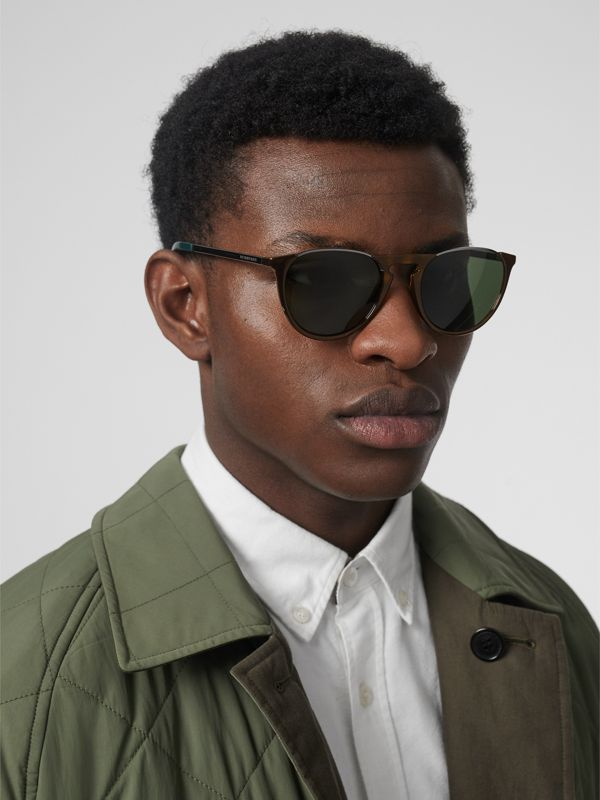 Keyhole Pilot Round Frame Sunglasses in Tortoise Shell - Men | Burberry - cell image 2