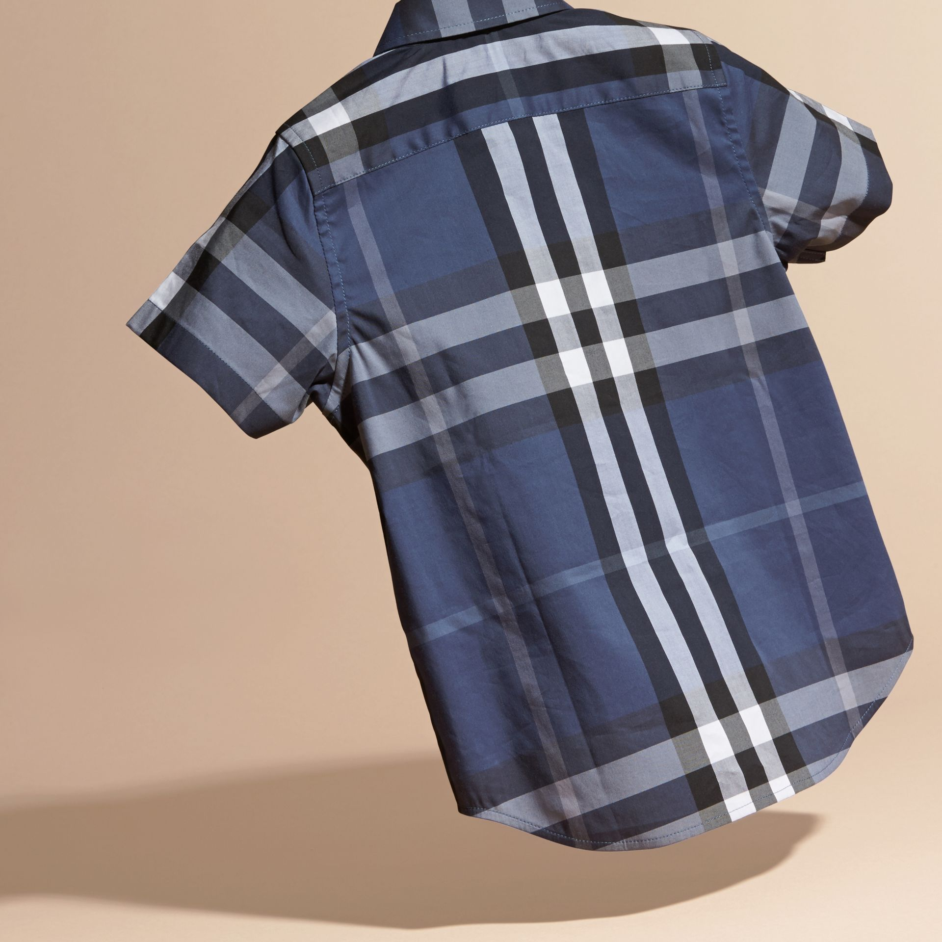 Thistle blue Short-sleeve Check Cotton Twill Shirt - gallery image 4