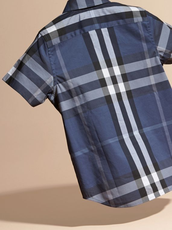 Thistle blue Short-sleeve Check Cotton Twill Shirt - cell image 3