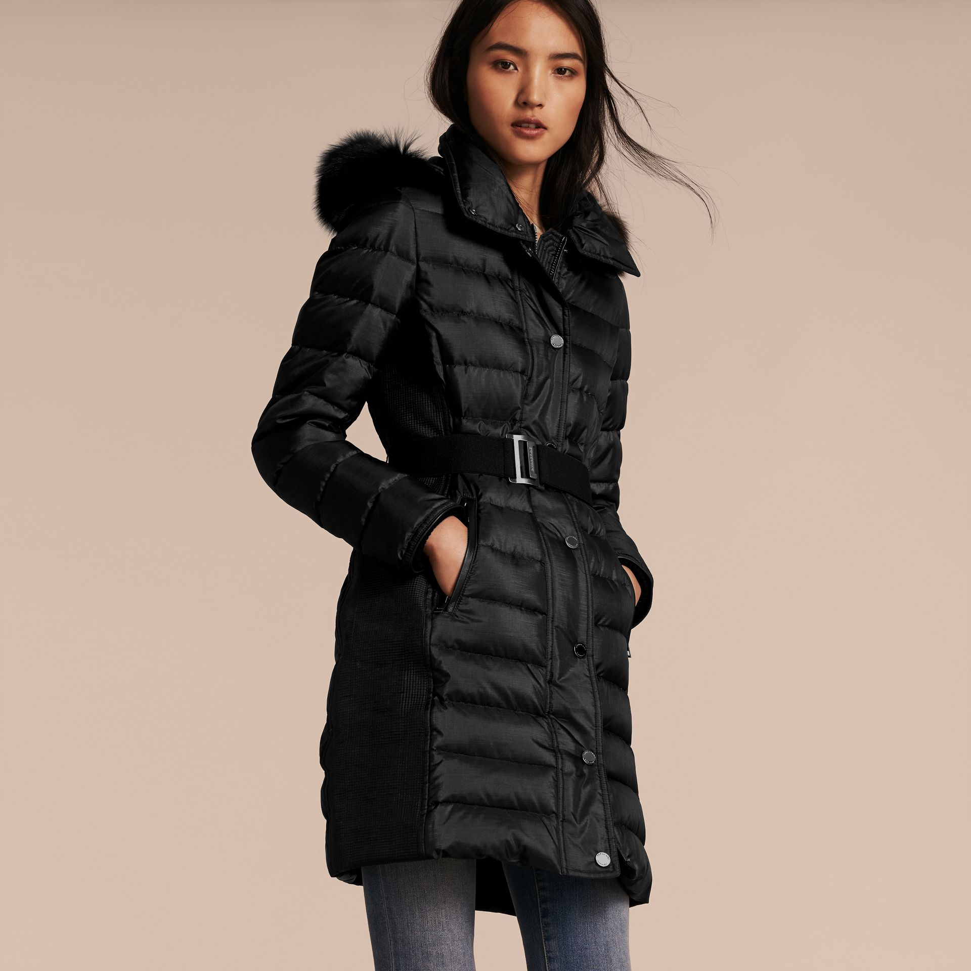 Black Down-filled Coat with Fur-trimmed Hood Black - gallery image 6