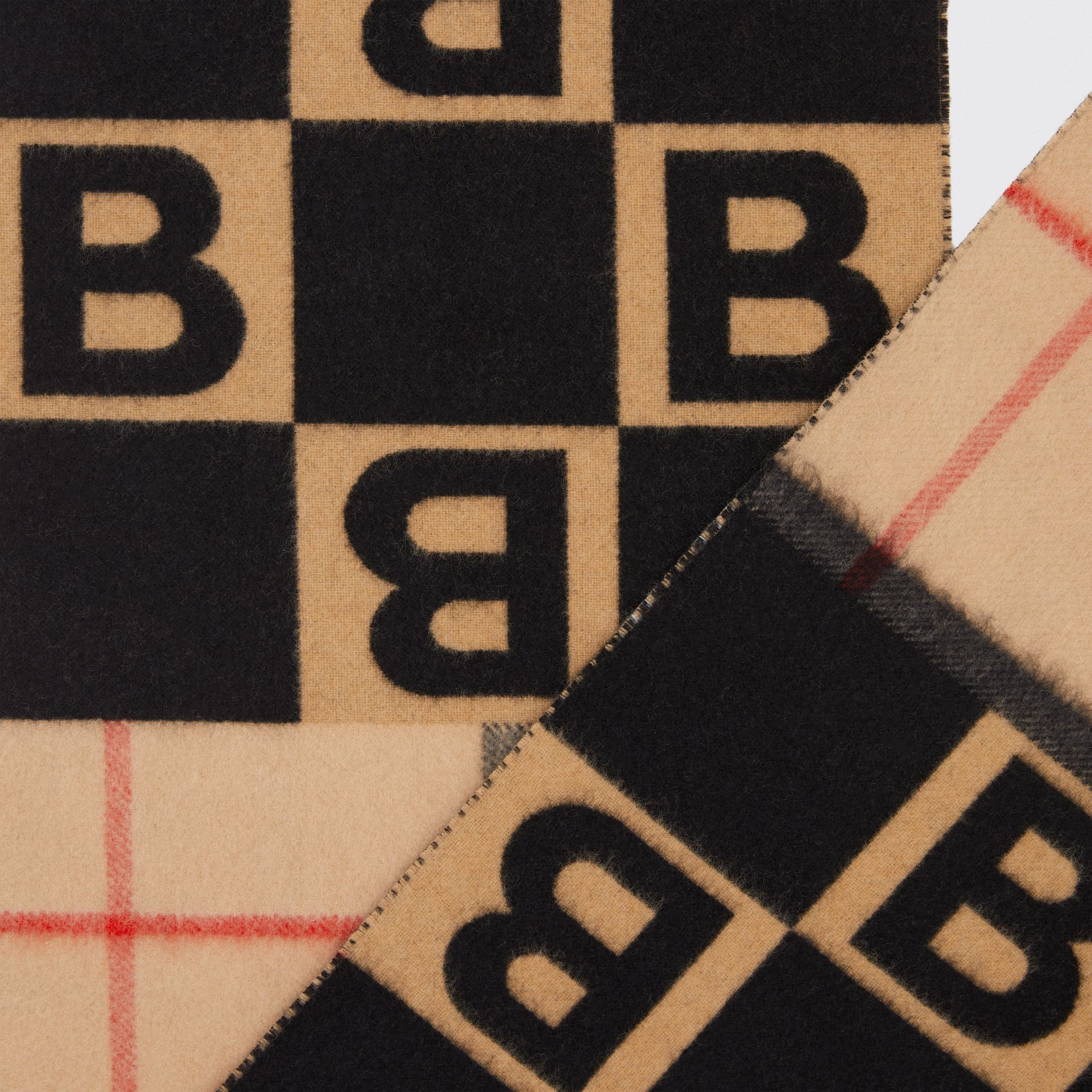 Check and B Motif Wool Cashmere Scarf in Black | Burberry - gallery image 1
