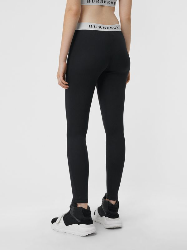Logo Detail Jersey Leggings in Black - Women | Burberry - cell image 2
