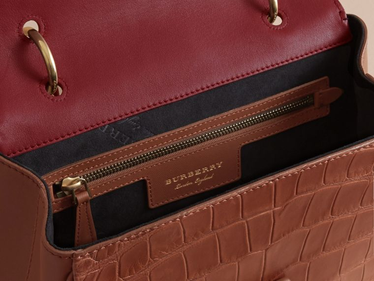 The Medium DK88 Top Handle Bag with Alligator in Tan/antique Red - Women | Burberry - cell image 4