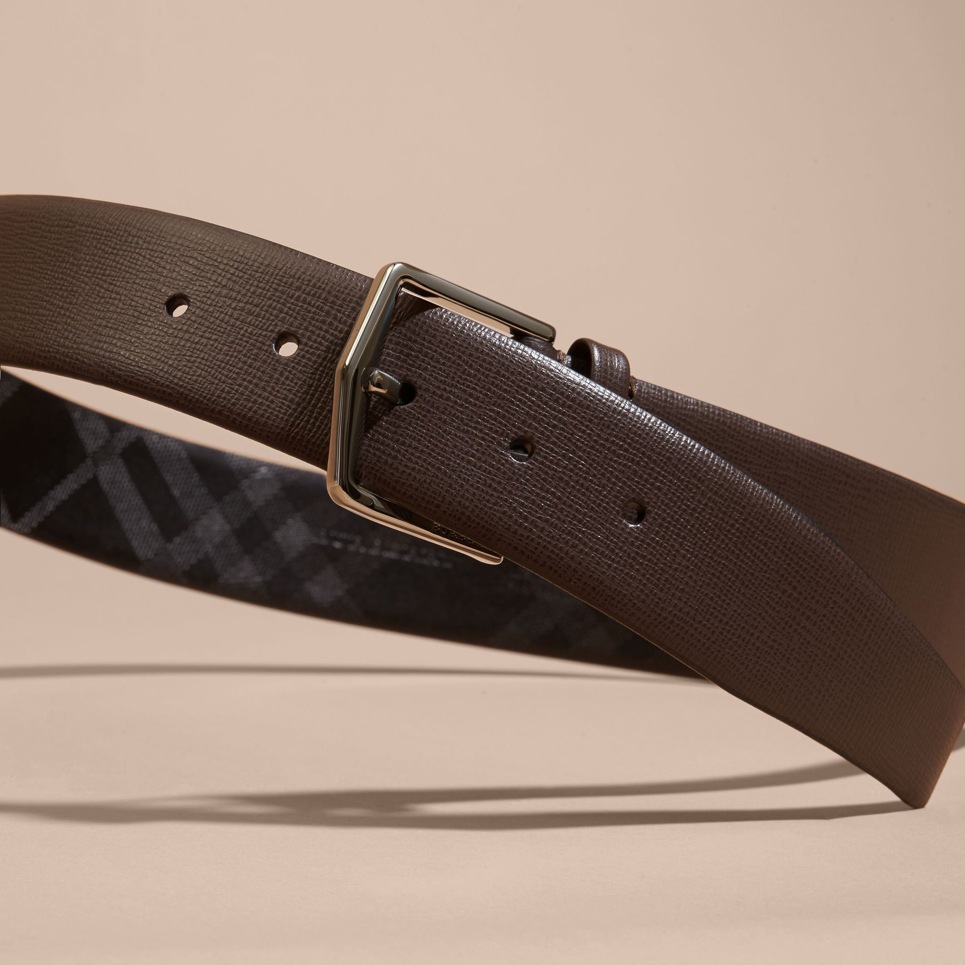 London Leather Belt with Check Detail in Bitter Chocolate - gallery image 3