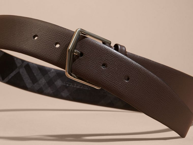 London Leather Belt with Check Detail in Bitter Chocolate - Men | Burberry - cell image 2