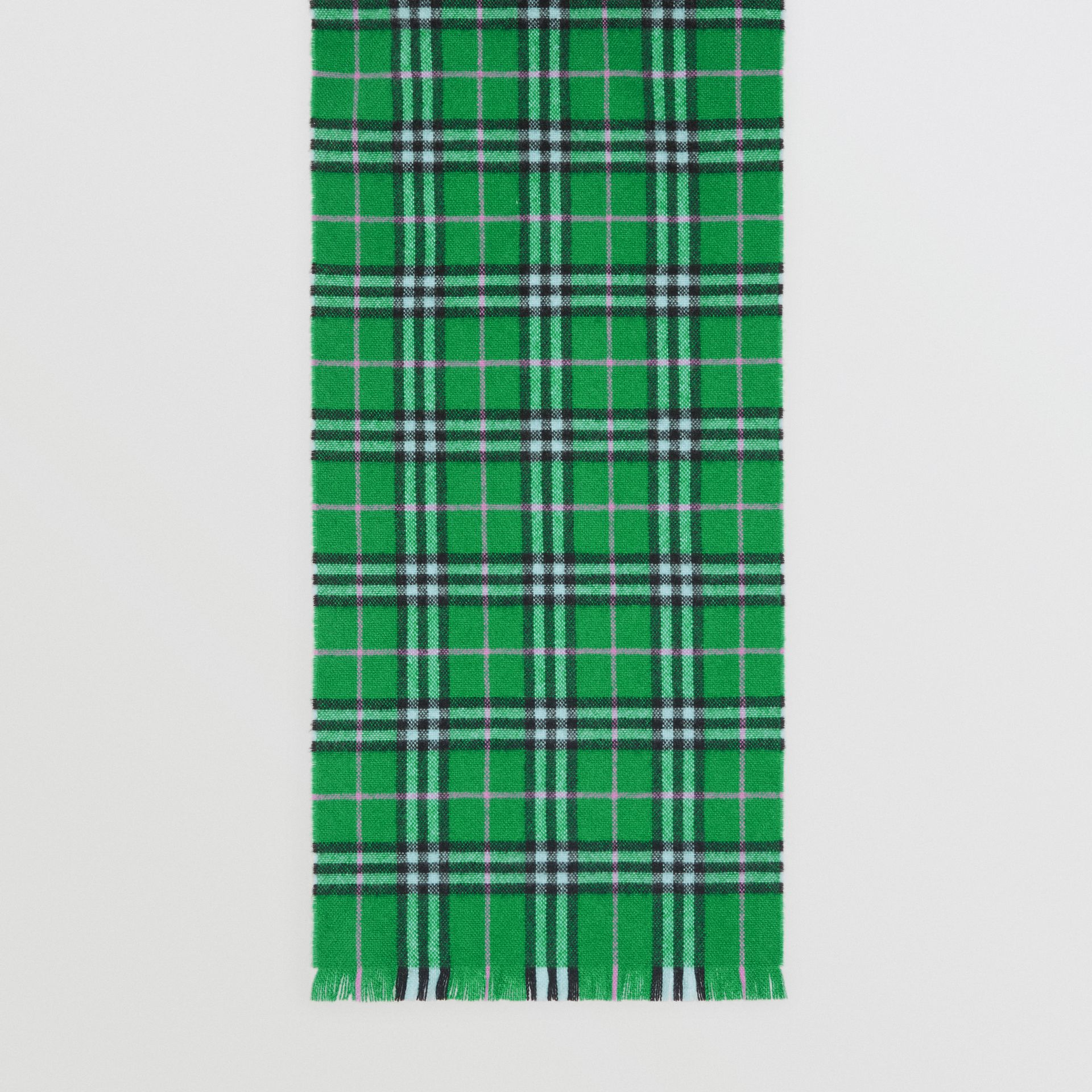 Check Cashmere Scarf in Bright Grass Green | Burberry United Kingdom - gallery image 4