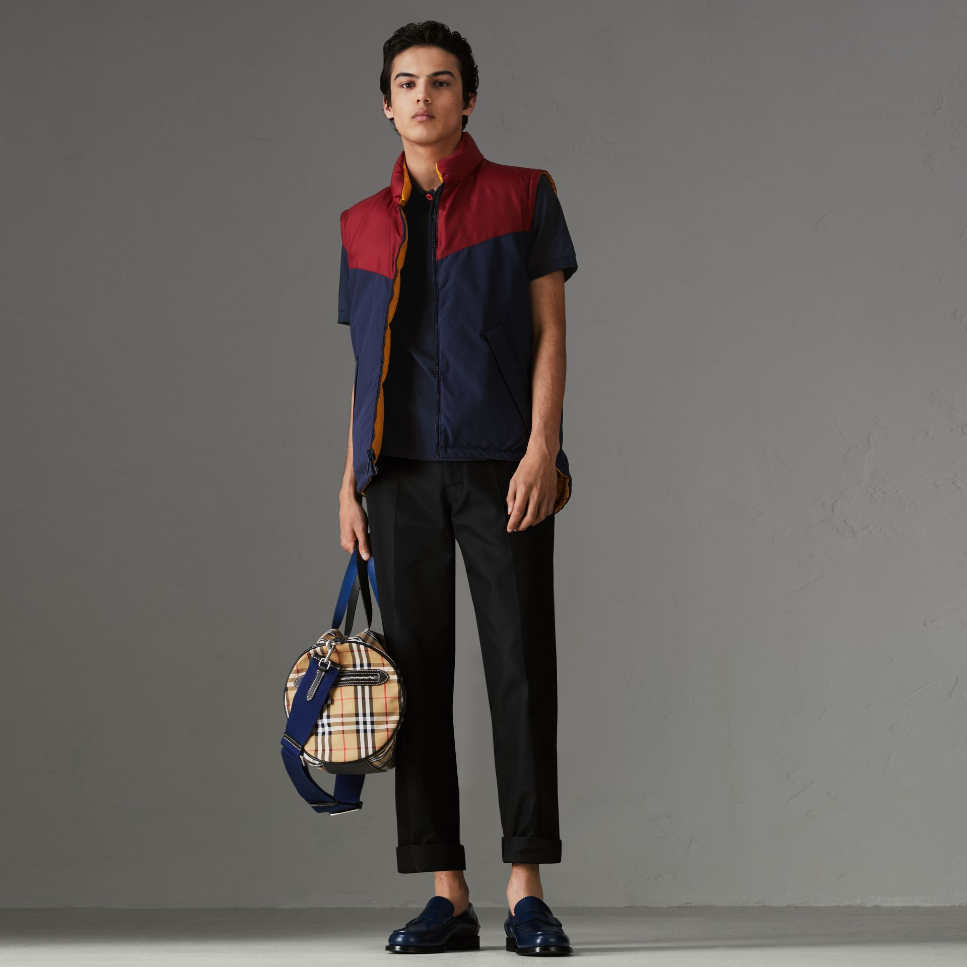 Painted Button Cotton Piqué Polo Shirt in Navy - Men | Burberry Australia - gallery image 0