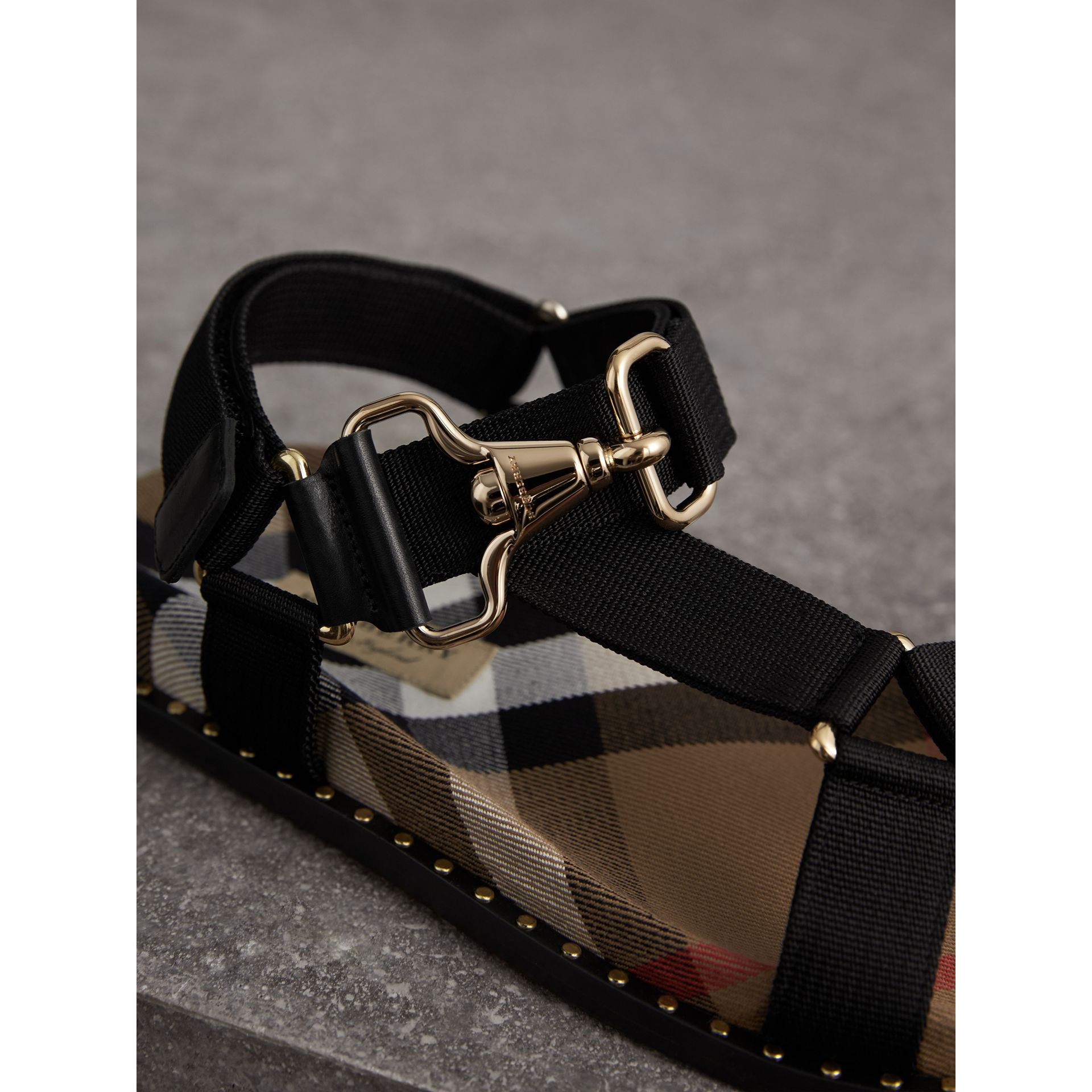 House Check Strappy Sandals with Hardware Detail in Black - Women | Burberry - gallery image 2