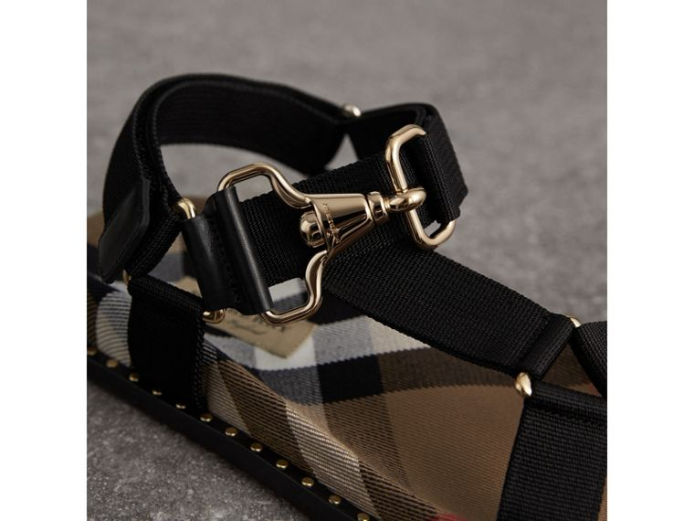 House Check Strappy Sandals with Hardware Detail in Black - Women | Burberry - cell image 1