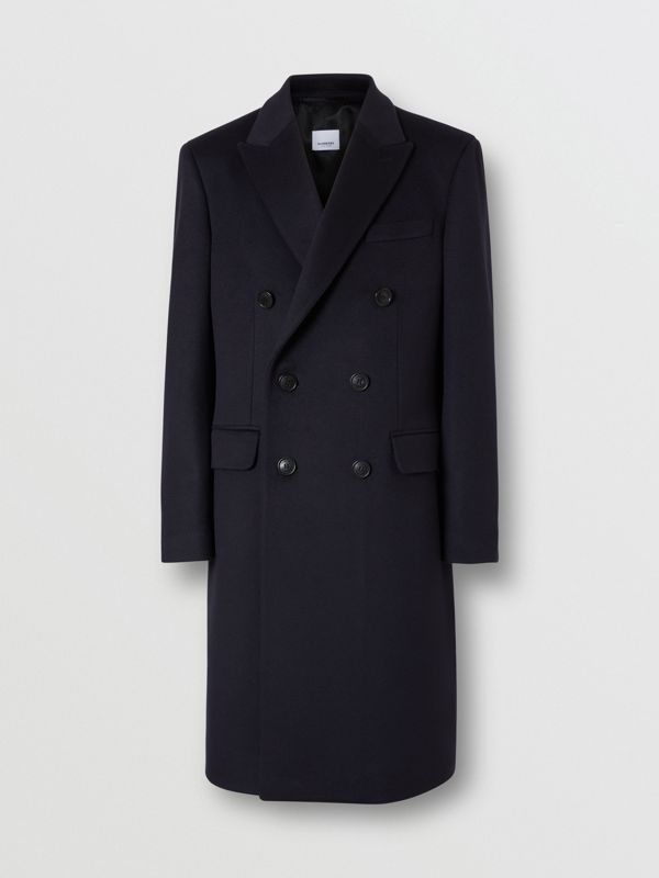 Wool Cashmere Tailored Coat in Navy - Men | Burberry - cell image 3
