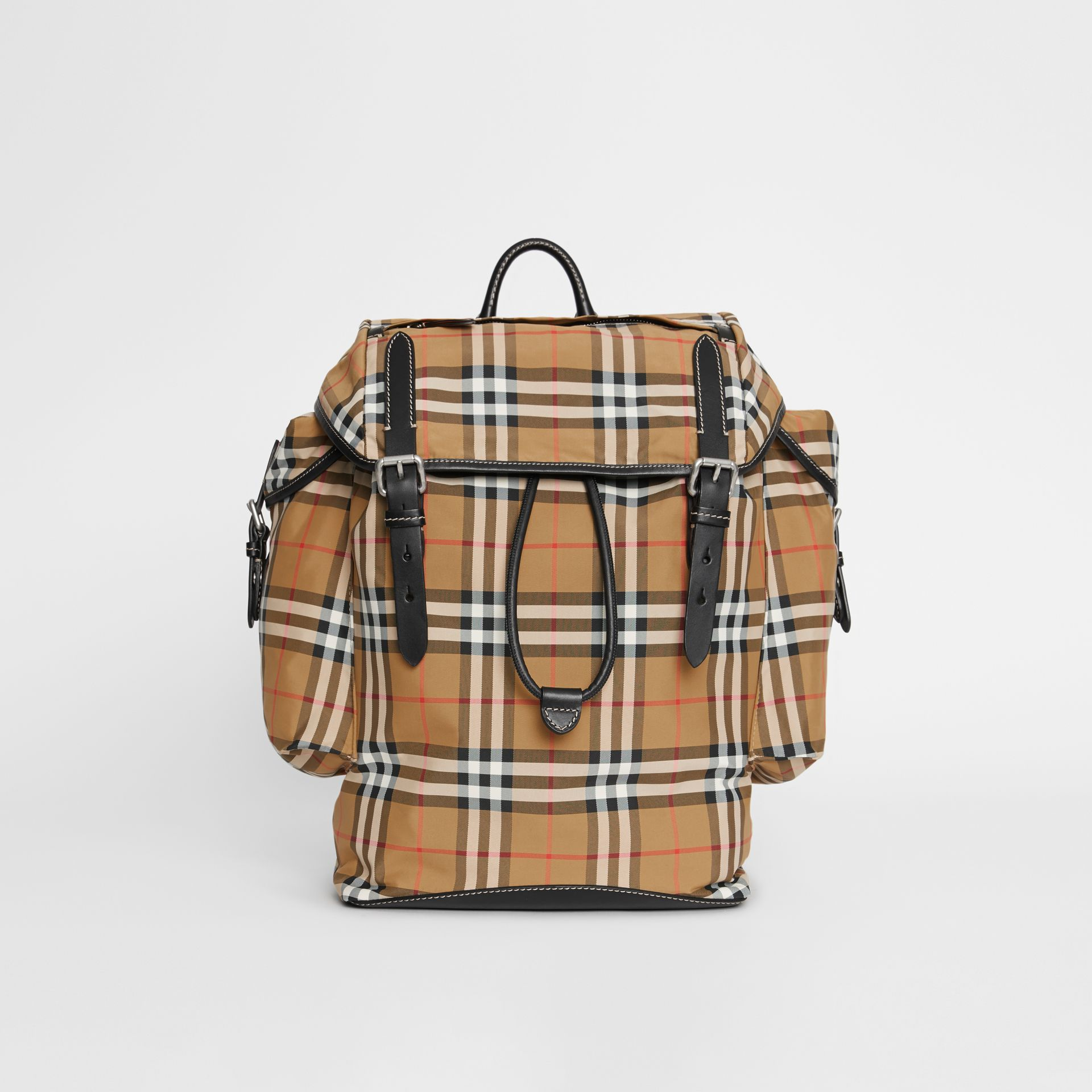 Vintage Check and Leather Backpack in Antique Yellow - Men | Burberry Hong Kong S.A.R - gallery image 0