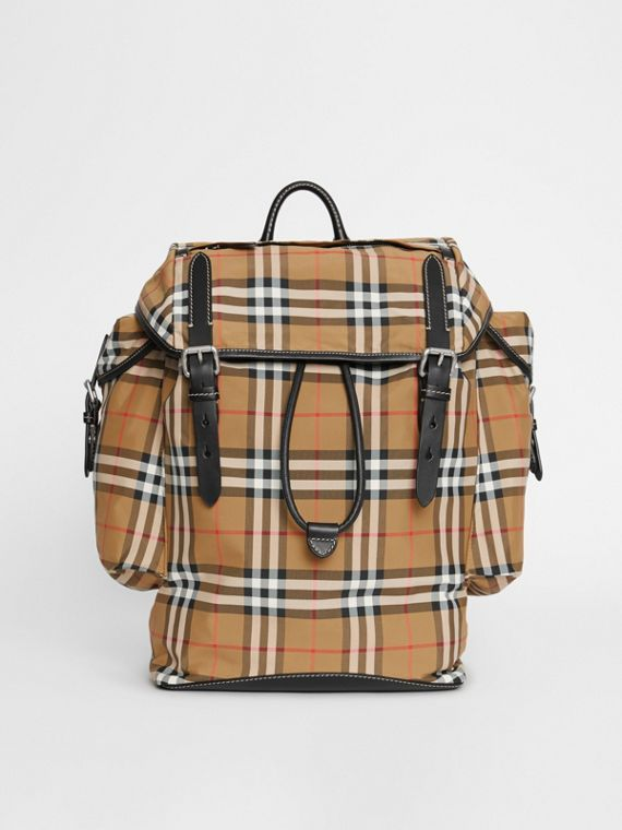 Vintage Check and Leather Backpack in Antique Yellow