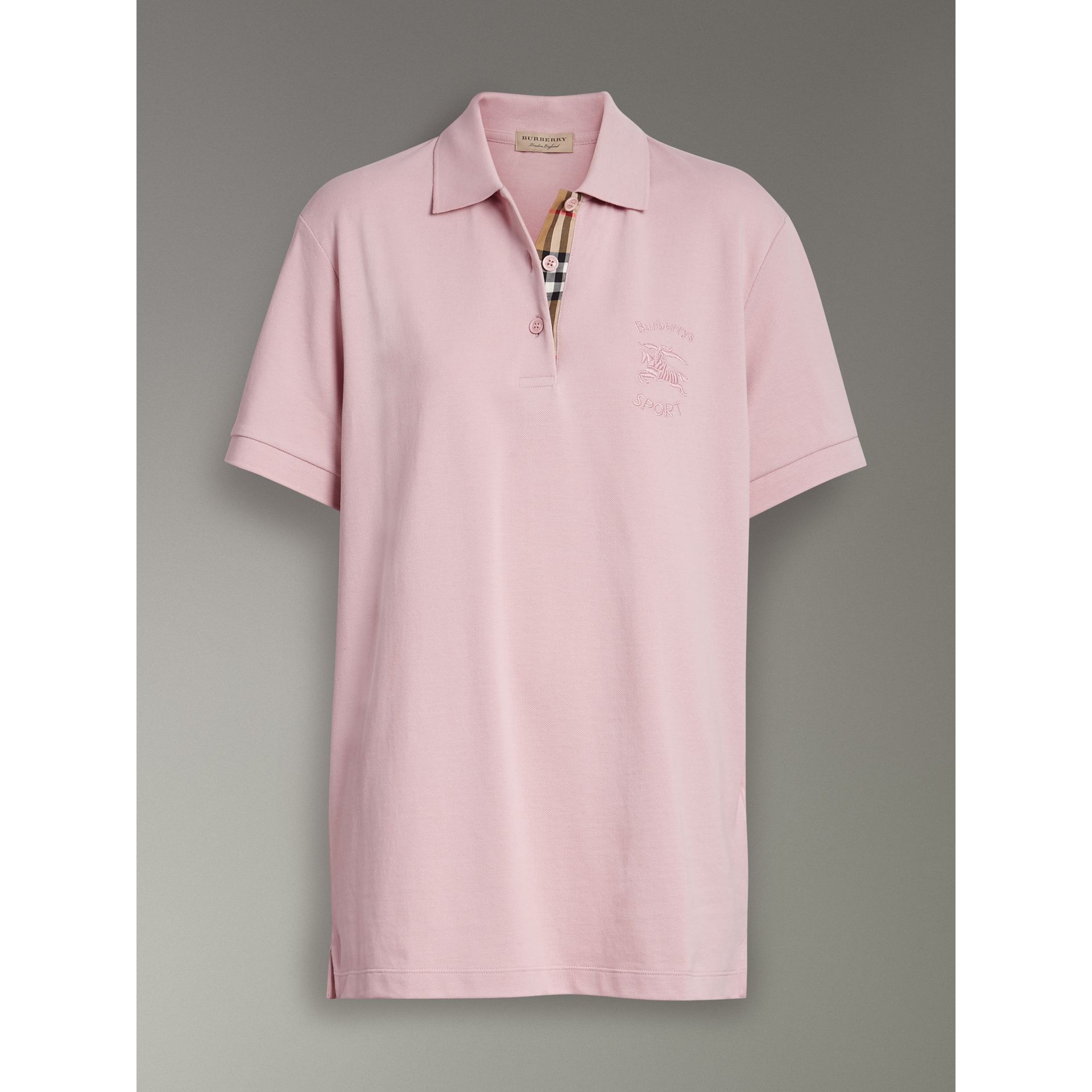 Check Placket Cotton Piqué Polo Shirt in Chalk Pink - Women | Burberry - gallery image 3