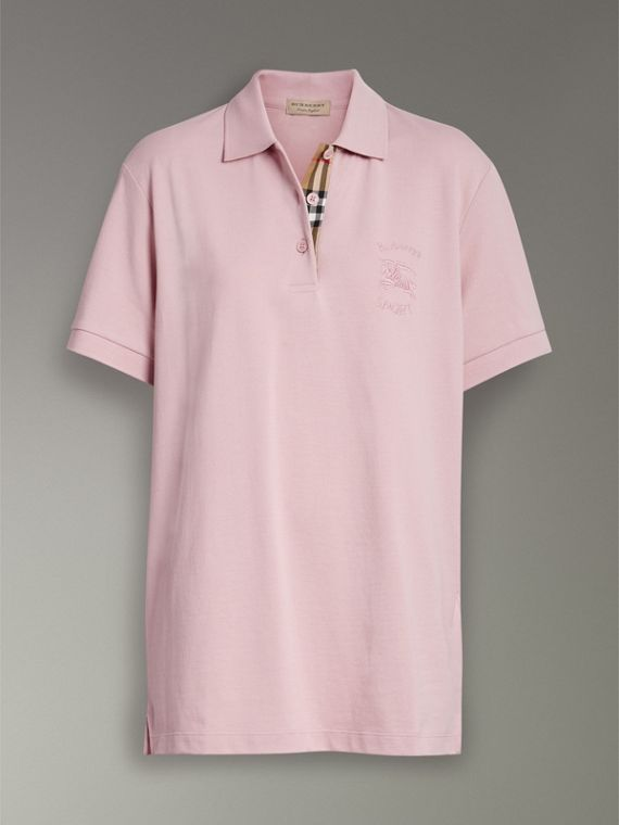 Check Placket Cotton Piqué Polo Shirt in Chalk Pink - Women | Burberry Singapore - cell image 3