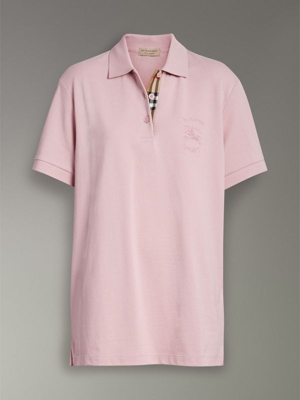 Check Placket Cotton Piqué Polo Shirt in Chalk Pink - Women | Burberry United Kingdom - cell image 3