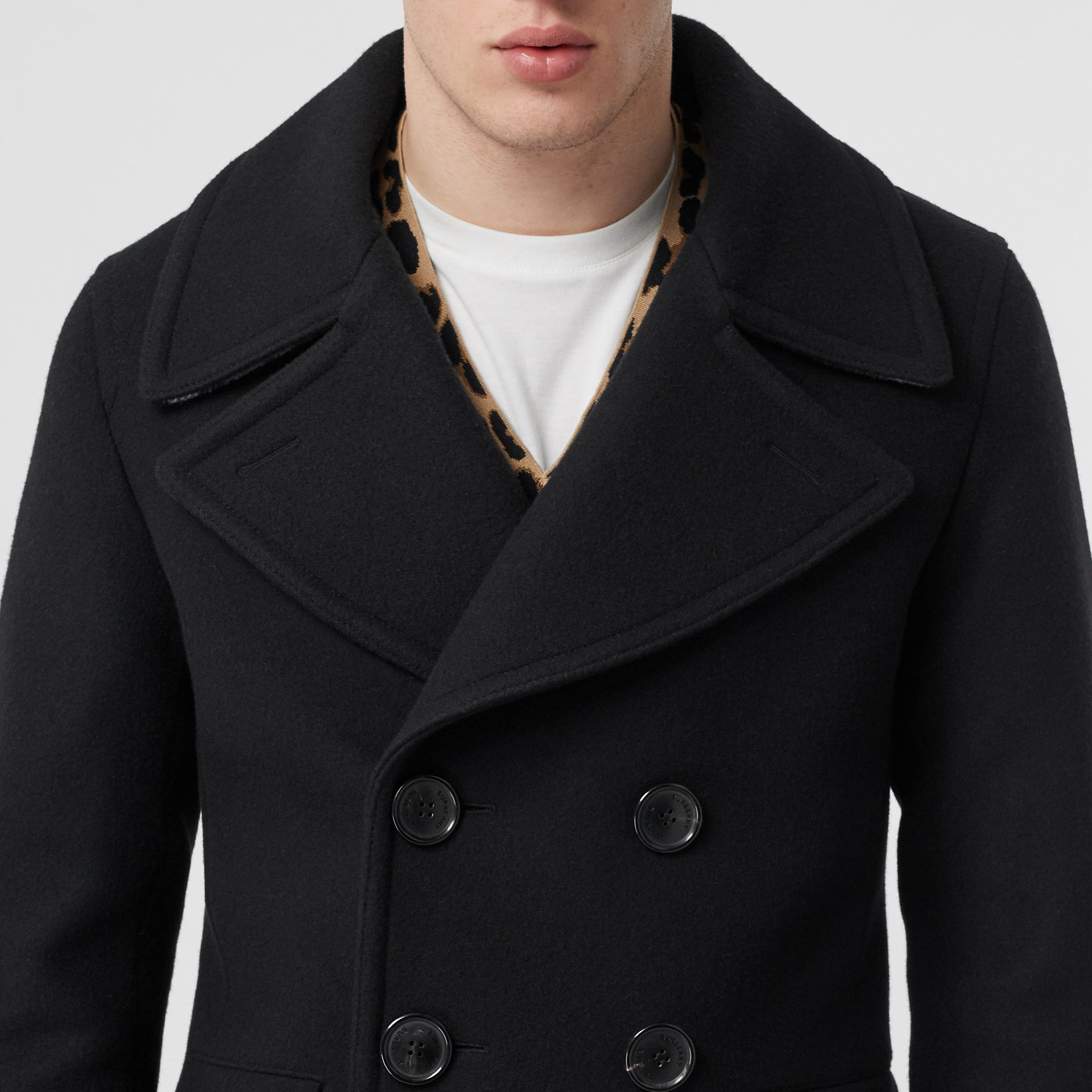 Wool Blend Pea Coat in Black - Men | Burberry Canada - gallery image 4