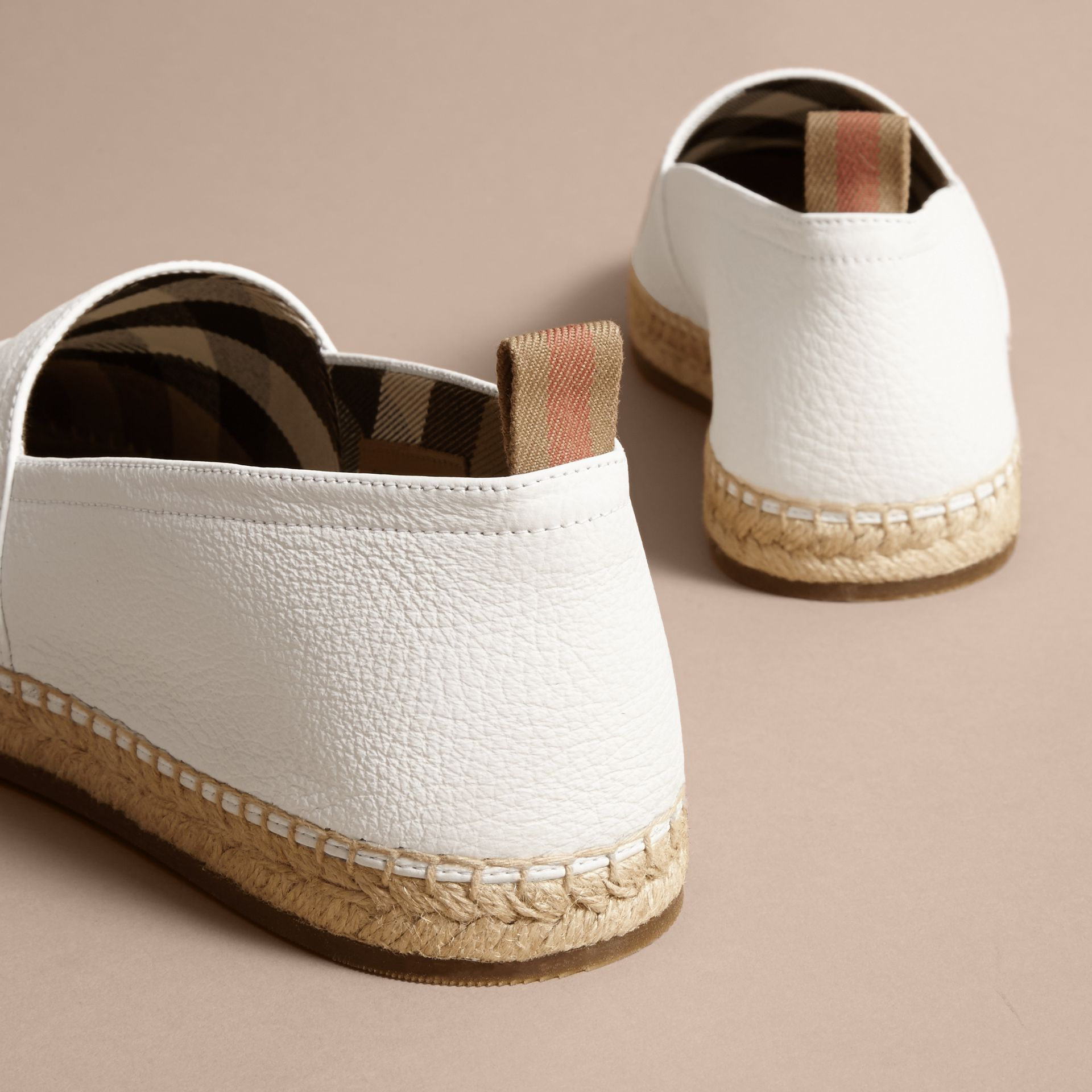 Check Detail Leather Espadrilles in Optic White - gallery image 4