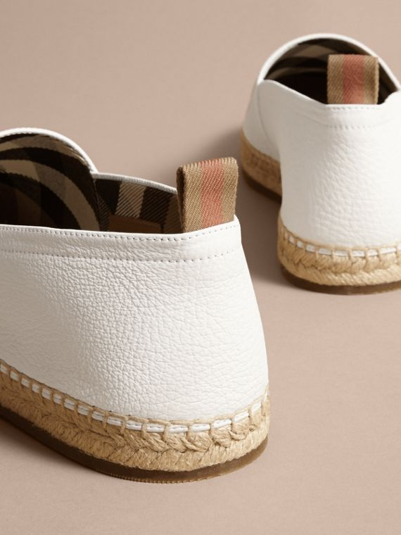 Check Detail Leather Espadrilles in Optic White - cell image 3