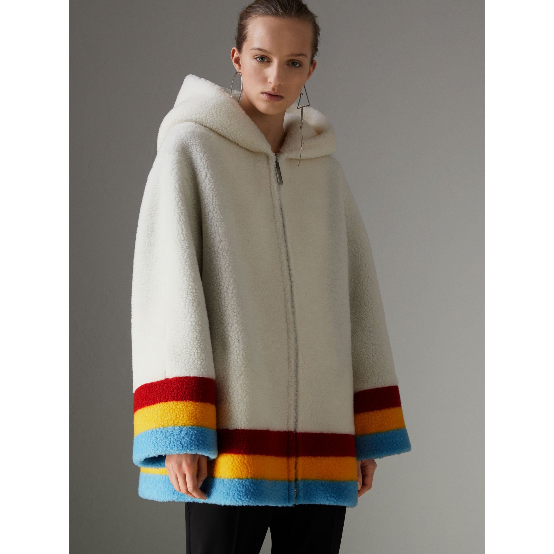 Striped Detail Faux Shearling Hooded Jacket in Off White - Women | Burberry - gallery image 6