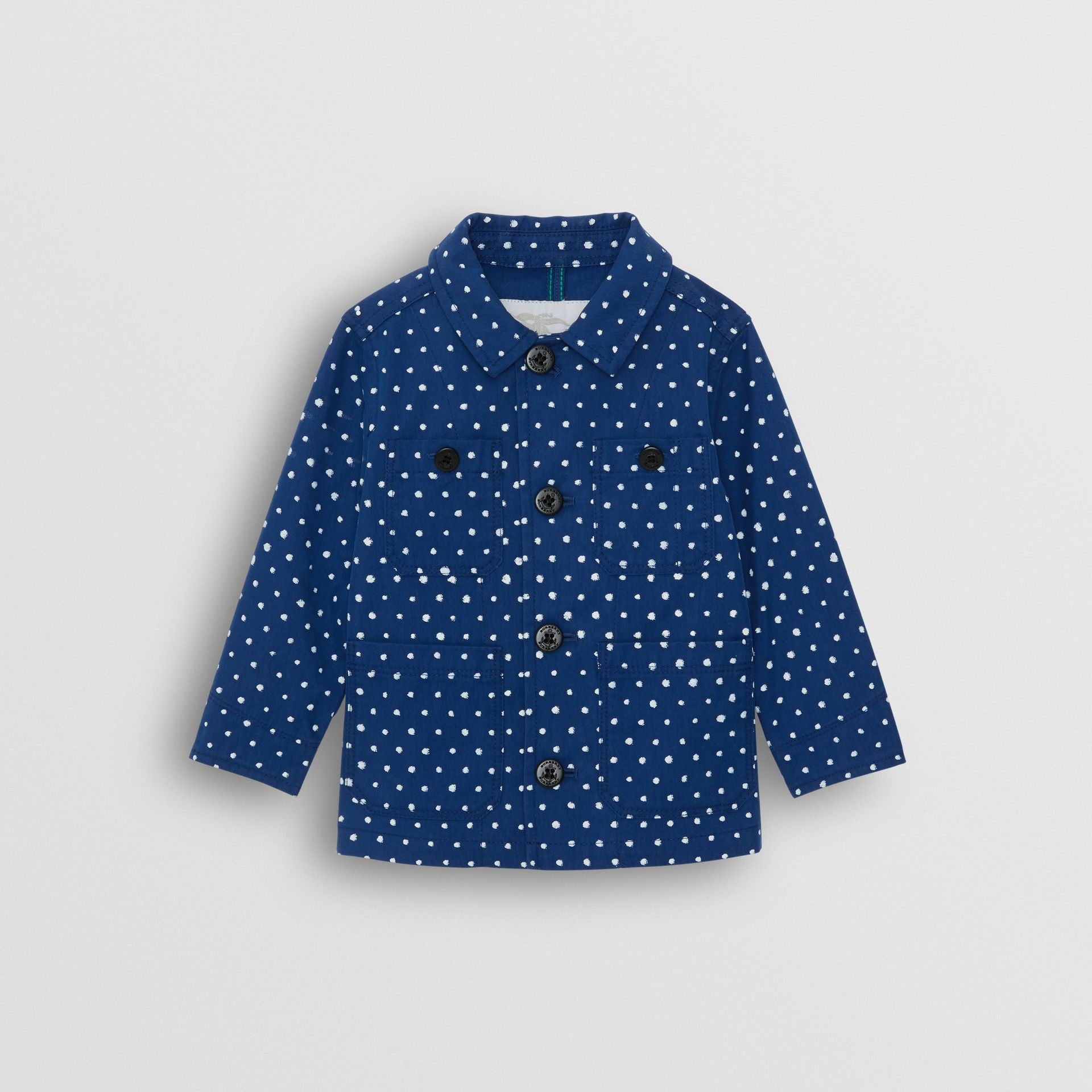Spot Print Cotton Blend Jacket in Bright Navy - Children | Burberry - gallery image 0