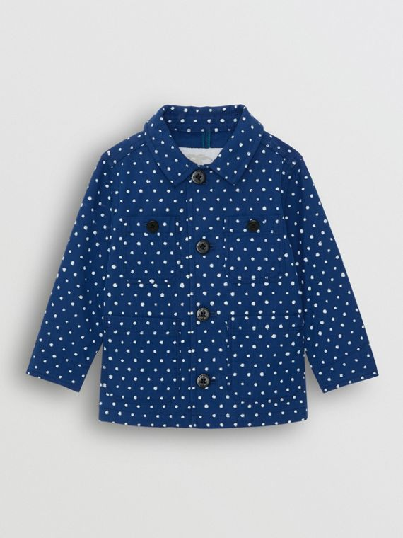 Spot Print Cotton Blend Jacket in Bright Navy