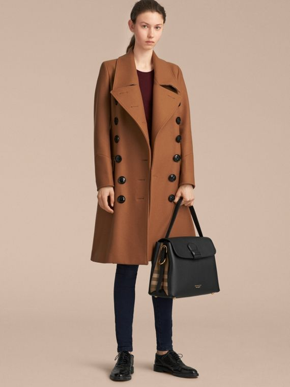 Medium Grainy Leather and House Check Tote Bag in Black - Women | Burberry - cell image 3