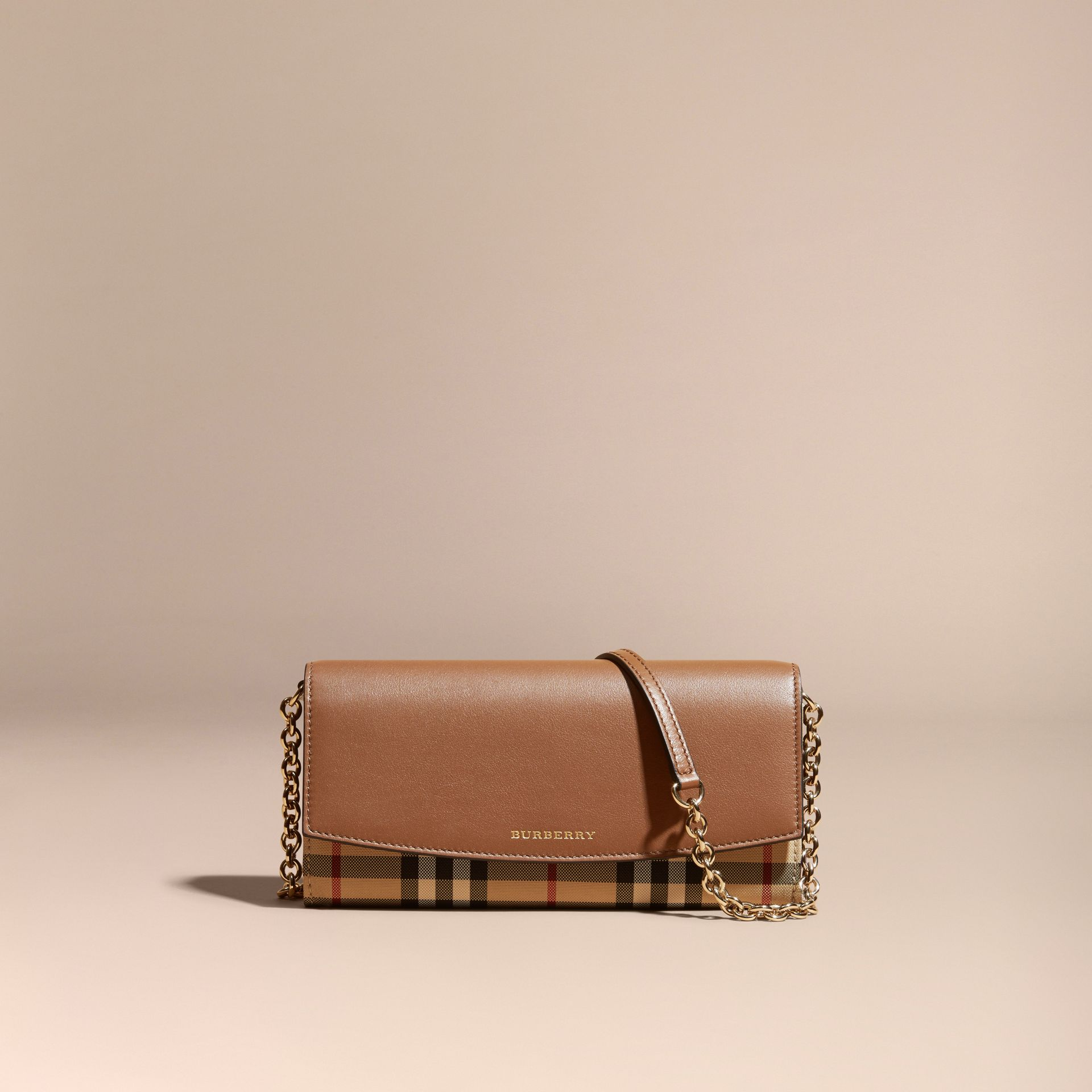Horseferry Check and Leather Wallet with Chain in Tan - Women | Burberry - gallery image 8