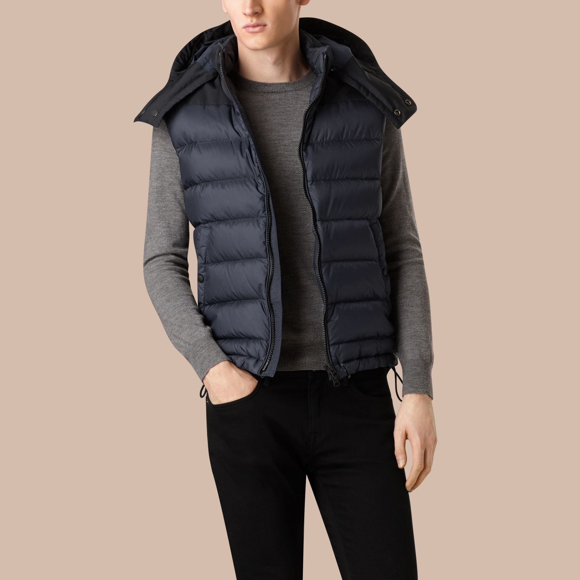 Navy Down-filled Technical Gilet with Detachable Hood Navy - gallery image 4
