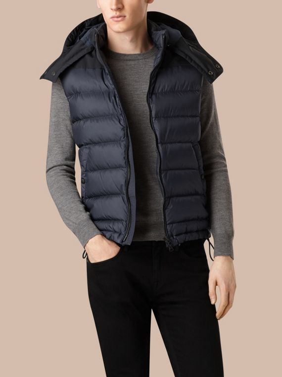 Navy Down-filled Technical Gilet with Detachable Hood Navy - cell image 3