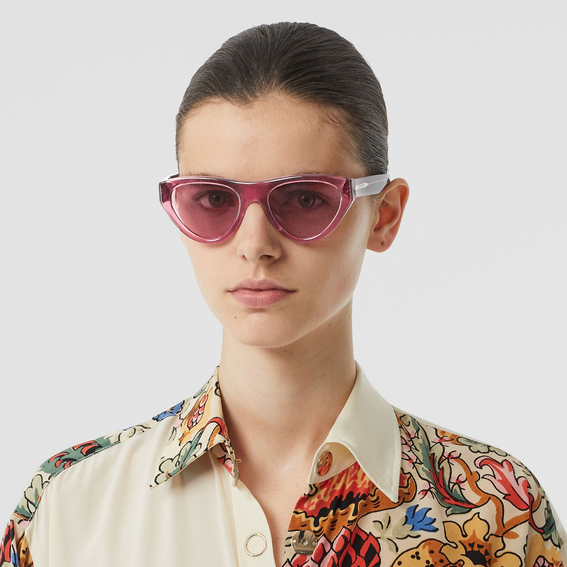 Triangular Frame Sunglasses in Cranberry - Women | Burberry United Kingdom - gallery image 2