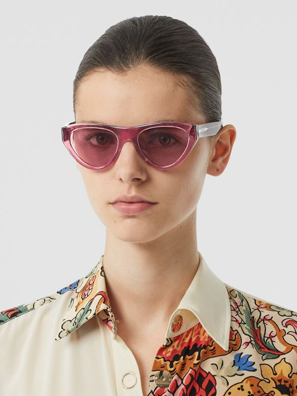 Triangular Frame Sunglasses in Cranberry - Women | Burberry United Kingdom - cell image 2