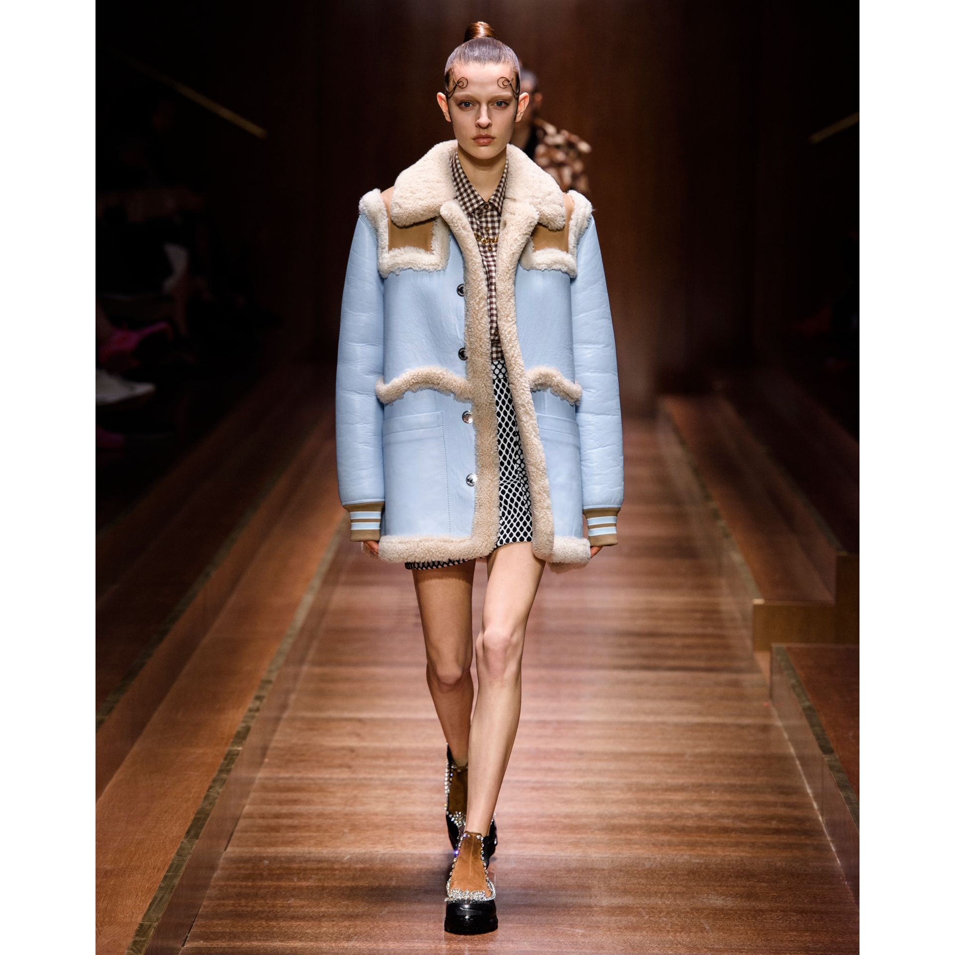 Two-tone Leather and Shearling Coat in Baby Blue - Women | Burberry Singapore - gallery image 8