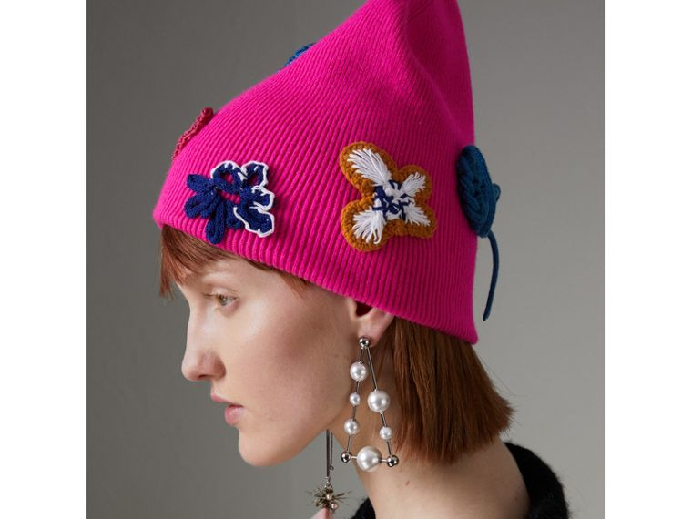 Floral Crochet Cashmere Beanie in Fuchsia Pink - Women | Burberry United Kingdom - cell image 4