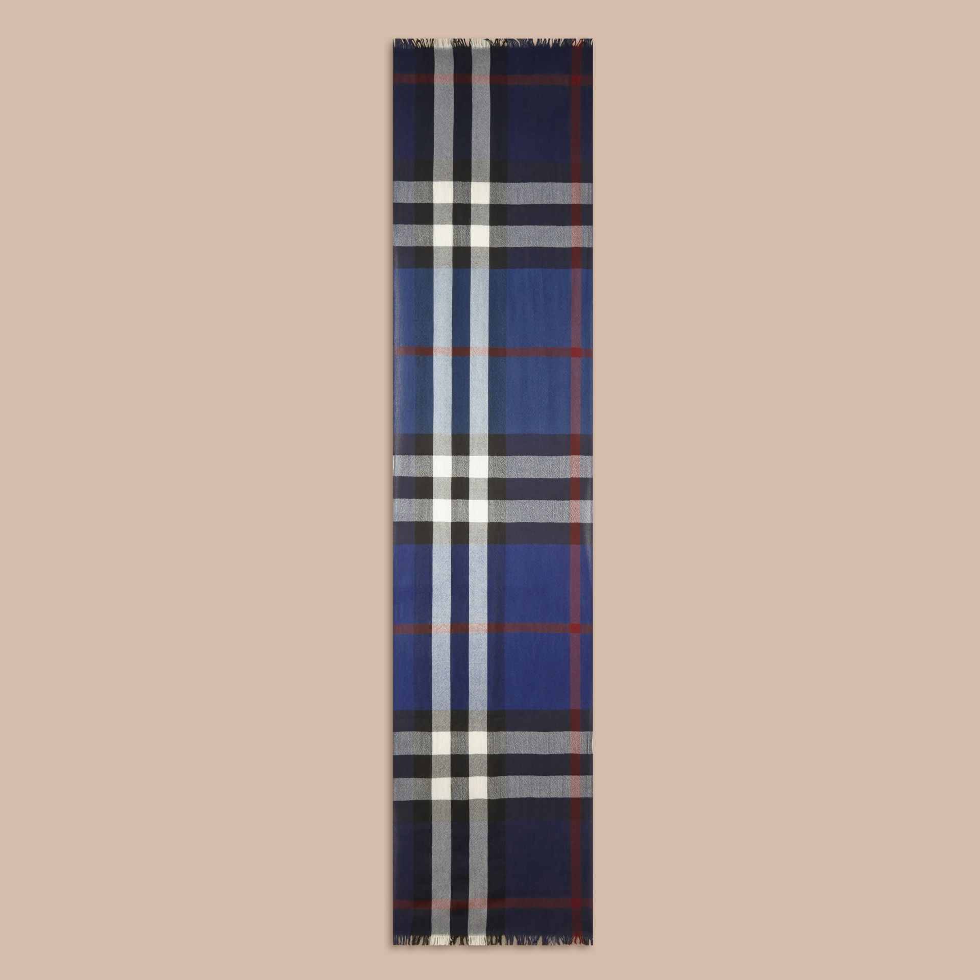 Lightweight Check Wool Cashmere Scarf Navy - gallery image 5