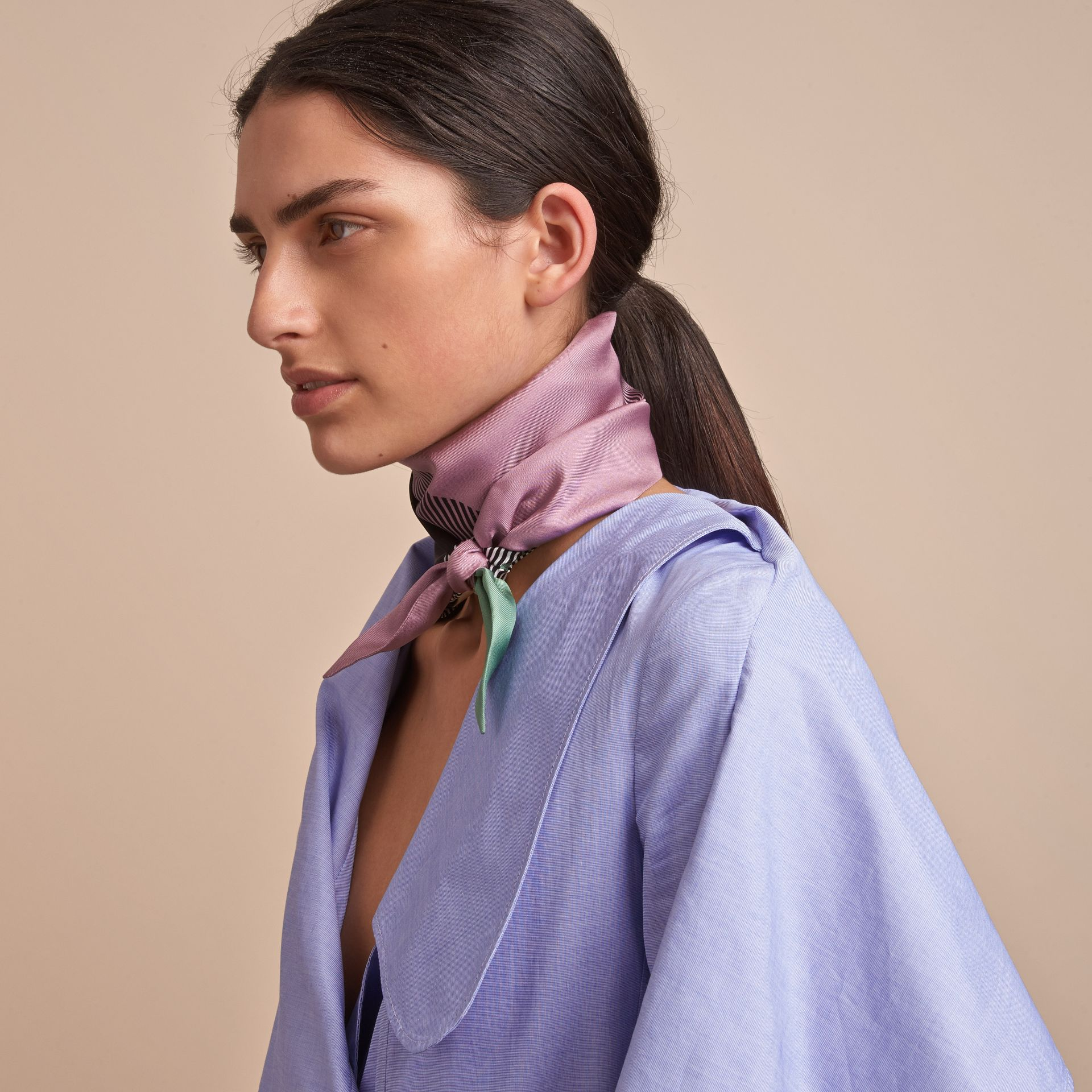 Colour Block and Striped Silk Slim Scarf in Pale Lilac - gallery image 3