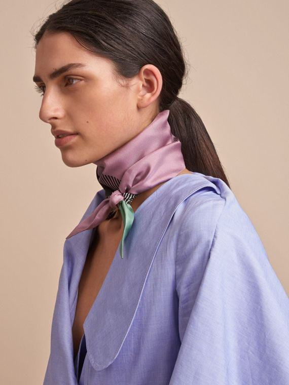 Colour Block and Striped Silk Slim Scarf in Pale Lilac - Women | Burberry - cell image 2