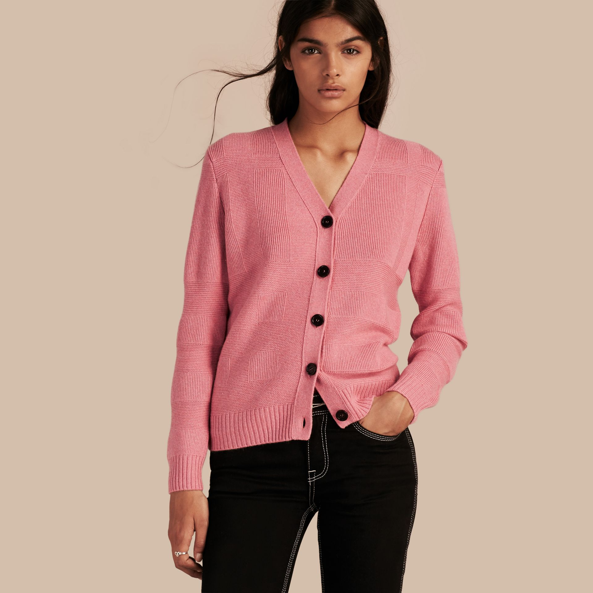 Check-knit Wool Cashmere Cardigan in Hydrangea Pink Melange - gallery image 1